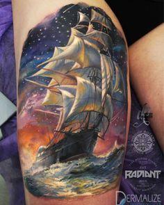 Octopus Destroys A Ship Tattoo Tattoos Tatuaże Na