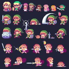 Paul Robertson Pixel | Pixel art showcase: [JFS] Some Zeldas And Links by Paul Robertson by ...