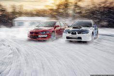 https://flic.kr/p/m2oxwG | Subaru Impreza WRX + Mitsubishi Lancer Evolution VIII