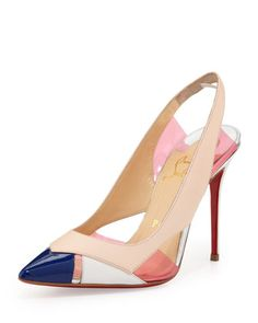Air Chance Mixed Peekaboo Slingback Pump, Poudre by Christian Louboutin at Neiman Marcus.