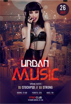Urban Musicis Free PSD Photoshop Flyer Template to Download. This Free PSD Flyeris fully editable and very easy to edit and customize. Flyer is unique and in high resolution 300dpi for Print Ready.  Urban Musicis Freebie Flyer to Download – designed by Stockpsd.net .   #flyer #free #Music #photoshop #PSD #template #Urban Free Psd Flyer Templates, Flyer Free, Urban Music, Party Poster, Party Flyer, Night Club, Flyer Design, Dj Edm