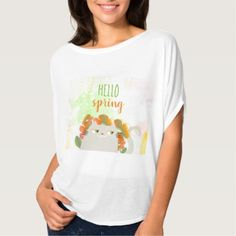 Cat White Cute Floral Spring Blossom Watercolor T-Shirt - floral style flower flowers stylish diy personalize