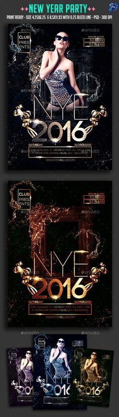 2017 New Year Party Poster | Party Poster, Event Flyers And Party