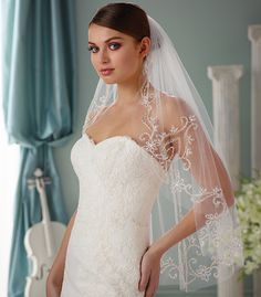 ornate embroidered wedding veil with crystals, rhinestones and pearls  ~ we ❤ this! moncheribridals.com