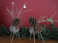 DIY Pinecone Deer- would make pretty tree ornaments