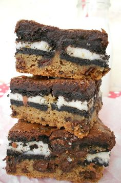 Slutty Brownies....a layer of chocolate chip cookie dough, a layer of Oreos topped off with a layer of brownie