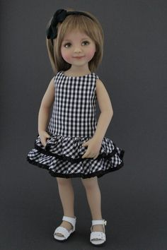 Black and white Gingham check dress and headband set designed for Dianna Effner Little Darlings doll by Matilda Pink