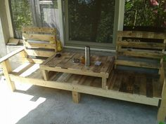 Pallets table bench #Bench, #Pallets, #Reclaimed, #Table