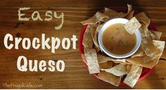 Easy Crockpot Queso Recipe! at TheFrugalGirls.com #queso #crockpot #recipes