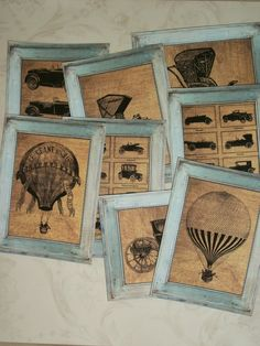 vintage prints in small frames