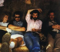 Kate Capshaw, Steven Spielberg, Georges Lucas and Harrison Ford. Indiana Jones and the Temple of Doom (1984).