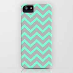 Tiffany Mint Grey Zigzag Chevron Pattern iPhone Case by Rex Lambo - $35.00