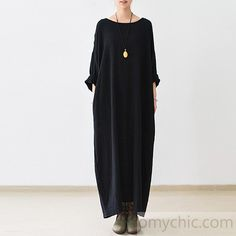 2016 fall thin black linen dresses long sleeve linen caftans gownThis dress is made of cotton linen fabric, soft and breathy, suitable for summer, so loose dresses to make you comfortable all the time.Measurement: One Size:   Shoulder 40cm / 15.6