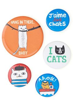 ModCloth Cats Chat's Out of the Bag Button Set Crazy Cat Lady, Crazy Cats, Cute Apartment Decor, Curiosity Killed The Cat, Fancy Cats, Cat Pin, Cat People, Vintage Toys, Retro Vintage