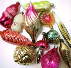 Retro Christmas Decor  Glass Baubles Ornaments door cherryshop, $24.00