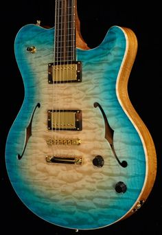 New 2015 Nik Huber Reitbergen Semi-Hollow guitar in stock! This one features a stunning one-piece quilt (Master Grade)--very rare!Also features a curly mahogany Namm Show, Beautiful Guitars, Custom Guitars, Guitar Design, Cool Guitar, Acoustic Guitar, Bass Guitars, Electric Guitars, Music Instruments