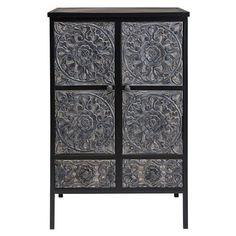 Topaze - Sculpted mango wood and metal cabinet Find Furniture, Unique Furniture, Large Chest Of Drawers, Black Acrylic Paint, Structure Metal, Cabinet Design, Furniture Collection, Wood And Metal, Types Of Wood