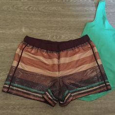 🆕 LOFT - Sequined Striped Shorts BNWT Shorts are fully silk lined, to keep the scratchy sequins off your skin. Hidden slit pockets and piped detail on the sides. Elasticized pull-on waist make these super comfortable, they're like wearing pj shorts out! LOFT Shorts