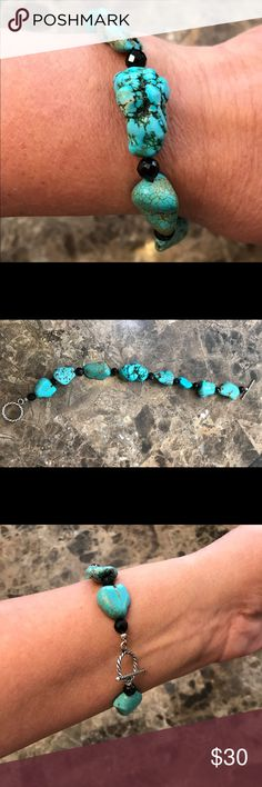 """🎗Turquoise bracelet 8 1/2"""" w SS closure🎗 Turquoise and black beads with a sterling silver toggle clasp, 8 1/2"""", is too big for my wrist, but took a picture of it on me anyway... would be a pretty 🎁!!! Jewelry Bracelets"""
