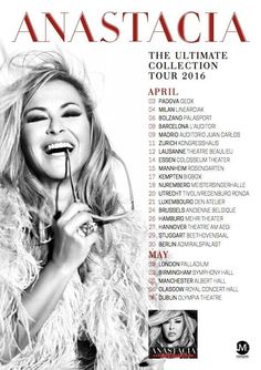 "NEWS: Anastacia just announced tour dates for the ""Ultimate Collection Tour"" 2016! Pre-sales will go live tomorrow on www.anastacia.com/live"