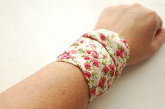 Rockabilly IVORY Flower Pattern Wrap Bracelet Iron Wire Wrist Wrap Wrist Bracelet Fashion accessory Women Teens Wrist Tattoo Cover by stunninglooks on Etsy