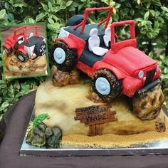 Loved making this jeep cake!!! All edible! This was for a 40 year old bday!!! His wife sent me pictures of his jeep and wanted it going over a hill!!! So much fun to create… was also the first time I used my new airbrush machine… not bad if I say...