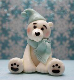 Polar Bear Topper - cake by Centerpiece Cakes By Steph Christmas Cake Topper, Christmas Cake Decorations, Christmas Cupcakes, Fondant Cake Toppers, Fondant Figures, Fondant Cupcakes, Cupcake Toppers, Penguin Cakes, Bear Cakes
