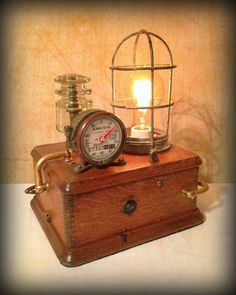 Found Object Light Sculpture - Steampunk Lamp - The Element ©