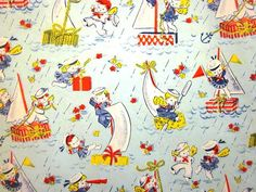 Vintage Wrapping Paper  Sailor Baby Shower  Full by TillaHomestead, $6.00