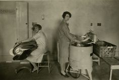 Students doing laundry in the Practice House Laundry Room in 1926. The women sent their own clothes out but did some of the university's laundry.