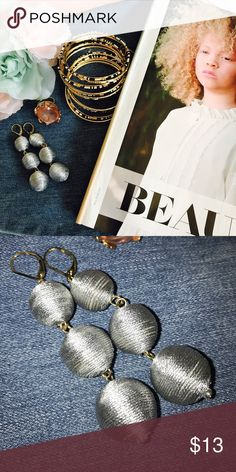 Silver Statement Earrings These on trend grey statement earrings are perfect for summer. Pair these earrings with a sleek hairstyle and a cute outfit for a chic and stylish look! Boutique Jewelry Earrings