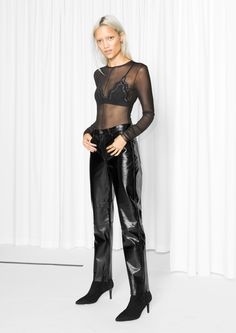 & Other Stories image 1 of Patent Leather Trousers  in Black
