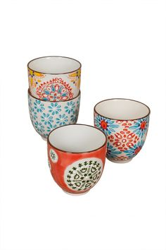 We picture these whimsical hand-painted cups from Beligium dotting a table strewn with fresh flowers, tea, and crumpets for a modern Alice in Wonderland effect. The classic color palette makes mixing Painted Cups, Hand Painted, Rustic Kitchen Decor, Bohemian Decor, Bohemian Interior, My New Room, Colorful Decor, Dinnerware, Decoration