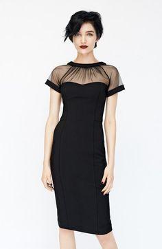 Maggy London Illusion Yoke Crepe Sheath Dress in Black, Red or Navy black dress Look Fashion, Womens Fashion, Dress Fashion, Fashion Black, Fashion Styles, Fashion Pics, Classy Fashion, Fashion Outfits, Latex Fashion