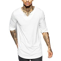 Men Longline Long Hem Solid color shirt Fashion Clothing US-XL MTL03 White *** Continue to the product at the image link.