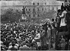 Nézze meg, milyen fotók jelentek meg a korabeli sajtóban 1956. október 23-ról! | PestBuda Budapest Hungary, Revolution, New York Skyline, Culture, History, Retro, Travel, Archive, Historia