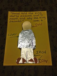 Daniel Tells the King's Dream lesson- statue craft Sunday School Projects, Sunday School Activities, Church Activities, Sunday School Lessons, Daniel Bible Crafts, Bible Crafts For Kids, Vbs Crafts, Kids Church Lessons, Bible Lessons For Kids