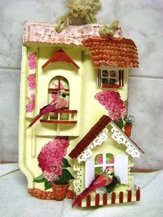 Art and Craft Ideas Wood Crafts, Diy And Crafts, Arts And Crafts, Ceramic Painting, Painting On Wood, Mini Doll House, Clay Houses, Fairy Garden Houses, Little Houses
