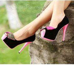 Peep-toe Platform Stiletto Heels With Bowtie