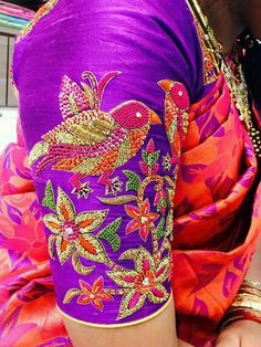 Birds and flowers Wedding Saree Blouse Designs, Fancy Blouse Designs, Blouse Neck Designs, Kurta Designs, Sleeve Designs, Maggam Work Designs, Hand Work Blouse Design, Designer Blouse Patterns, Hand Designs