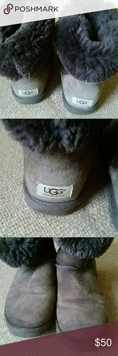 Ugg brown boots Pre owned  , good condition  , no water  stains, leather  still soft , insoles ok, these  are 9 inches  tall UGG Shoes Winter & Rain Boots