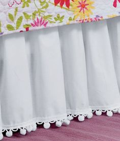 """Ball Fringe Bed Skirt 18"""" Drop.Like the dingle balls would go with the dots."""