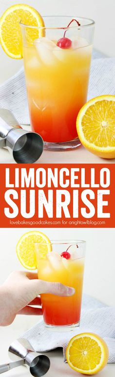 Limoncello Sunrise, Food And Drinks, Add this Limoncello Sunrise to your weekend brunch menu! It& a great alternative to Mimosas or a Bloody Mary. Fun Cocktails, Fun Drinks, Yummy Drinks, Cocktail Recipes, Cocktail Ideas, Alcoholic Beverages, Cocktail Drinks, Best Champagne, Champagne Brunch