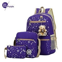 2016 Women Backpack With Bear School Bags For Teenagers Girls Outdoor Backpacks Star Printing Bookbag Cute Back Pack