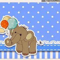 Elefante para Baby Shower: Etiquetas para Candy Bar para Imprimir Gratis.
