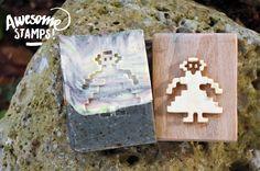 """Ballu 8 bitti "" - dim. 4x4.5 cm . Poplar plywood carving of laminated wood ~ Personalized subject  [for the multimedia's artist Moju Manuli, yay!]"