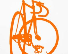 Etsy の Bicycle Art  Track Bike  Little Print by bicyclepaintings