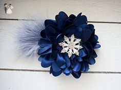 Handcrafted Snowflake Feather Hair Clip - Navy and Grey Headpiece - Silver Snowflake Accessory - Blue French Barrette - Rose Alligator Clip - Bridal fashion accessories (*Amazon Partner-Link)
