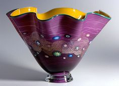 Fluted Blossom Bowl by Hanson and Kastles. American Made. See the designer's work at the 2015 American Made Show, Washington DC. January 16-19, 2015. americanmadeshow.com #bowl, #glass, #artglass, #blossom, #purple, #americanmade