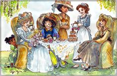"""""""The Disney Princesses at high tea, drawn to look like their film's ages (Snow White is 75, Cinderella is 62, Aurora is 53, etc.)."""""""